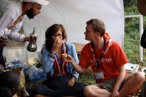 Esben at the World Moot in Kenya, 2010, visiting Scouts from Saudi Arabia.