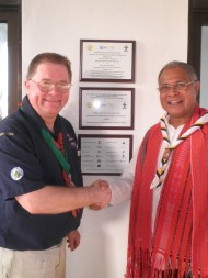 President of the National Parliament Vincent Guterres and Scouts Australia International Commissioner Neville Tomkins at the opening